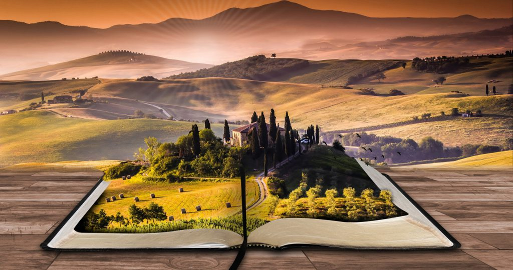 Write for your audience - landscape superimposed upon a book