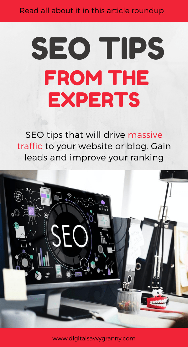 Pinterest Pin in Grey red and black featuring a large screen PC with an SEO image on screen, standing on a desk with a desk lamp next to it.